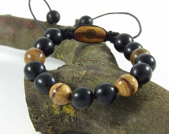Ebony and snake-Bracelet wood man-Woods Beads Bracelet gemstone-made hand Taamak