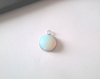 1 pendant round 16mm Moonstone support stainless steel