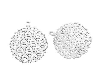 2 pendants, round prints rosettes, steel stainless 25x22mm
