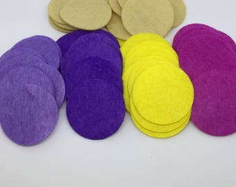 """200 piece 1.5"""" Felt Circles, Craft Supply, Colored Felt, 200 grab bag of your mixed colors choice"""