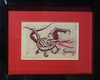 "Painting on book page ""Smaug"""