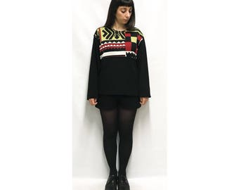 MUSCOWEQUAN One size wool sweater with vintage geometric pattern