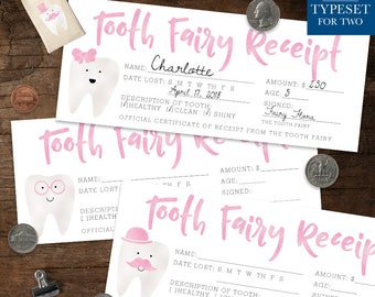 Tooth Fairy Receipt - Tooth Fairy Certificate - 9 Different Designs - Tooth Fairy Accessories - Lost Tooth - Pink - Instant Download
