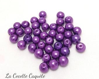 40 round glass pearls - purple - 6 mm