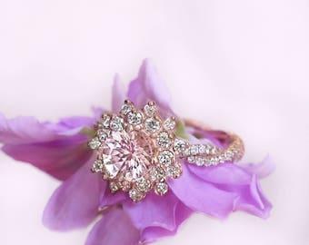 Snow Flake Rose Gold Engagement Ring