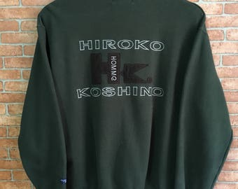 Vintage Hiroko Koshino Big Logo Designer Sweatshirt Pullover Jumper Green M