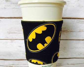 Batman Coffee Cup Cozy, Reusable Coffee Sleeve, DC Comics Tea Cup Cozy, Personalized Gift, Custom Cup Sleeve, Eco Friendly Item,