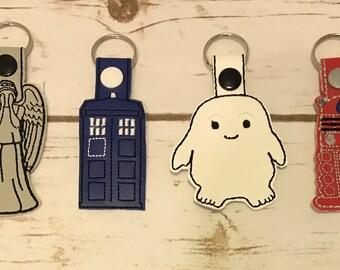 Doctor Who  Key chain, TARDIS Key chain, Adipose Key chain, Dalek Key chain, Weeping Angel  Key chain, Embroidered, Key chains, Key Fob