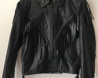 Cowboy Style Short Vintage Black Genuine Leather Jacket Fringe Men's Size Small.