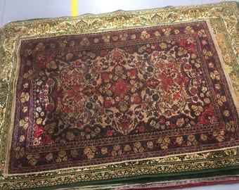 Old carpet rug 100%wool oriental pattern red and blue color warm vintage big rug heavy retro for interior for home government&restaurant.
