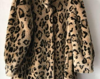 Extraordinary Spotted Middle Length Vintage Coat Faux Patchy & Velvet Fur Coat Winter Unisex Medium Size.