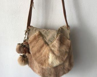 Hand made fur bag , real mink fur and leather .