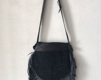 Black karakul fur fringe bag hand made
