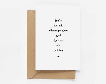 Let's Drink Champagne And Dance On Tables Birthday Card - Eddie and The Giant Peach