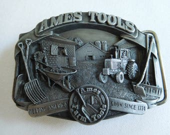 "Vintage Limited Edition 1989 Ames Tools Belt Buckle Ames Farm Tools ""Helping America Grow Since 1774"""