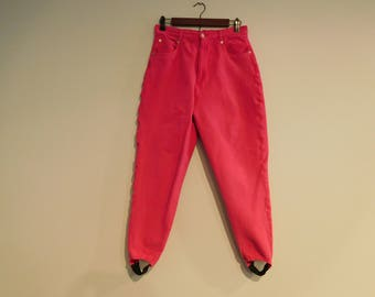 Vintage Retro Stirrup Pants in Hot Pink Size 12
