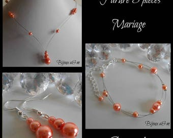 Set of 3 wedding pieces cascading coral beads