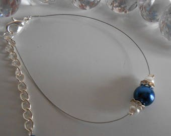 Wedding bracelet dark blue and white pearls and rhinestones