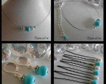 Set of 4 wedding rhinestone and white pearls and turquoise pieces