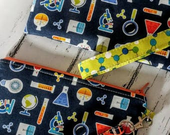 Chemistry Wristlet Wallet- Science Geek Wallet- Nerdy - Zippered Pouch-Clutch-OOAK-Quick Shipping-Made in USA-Gift for Her-Custom Made