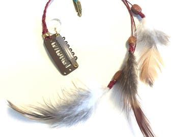 Feather hair clip - red