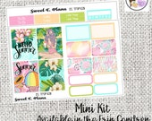 Tropical Summer Hello Summer Hawaii Tropical Vacation Island Life Tropical Flora Mini Weekly kit Erin Condren Happy Planner planner stickers