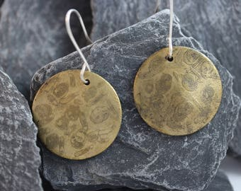 Brass Etched Earrings (082017-030)