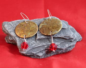 Brass Etched Earrings with Red Bead (082017-034)