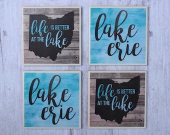 Lake Erie / Lake Erie Coasters / Life Is Better At The Lake / Lake Coasters / Great Lakes / Ohio / Lake Life / Ohio Coasters / Lake Gift