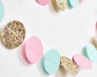 Pink mint gold garland, star garland ,heart harland,circle garland