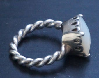 Elegant Sincerity Twist Ring Silver 925,, Mother of Pearl