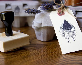 Fluffy Butt Stamp - Hand Drawn Mini Chicken Stamp - Light Brahma - Flock Stamp - Farm & Livestock Branding Stamps