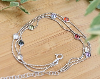 Modern High Quality 925 Sterling Silver Multi-Color Cubic Zirconia Bracelets Gift For Her