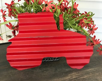 Red or Green Old Barn Tin Tractor Cut Out