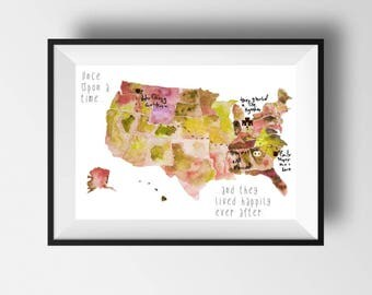 """Love Story Map, Wedding Guest Book Alternative, United States Map, Your Story Map, Wedding Gift Map, Custom Map, US Map, up to 16"""" x 20"""