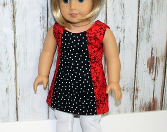 American Girl Doll Clothes. 18-inch Doll Clothes. Red and Black Top. White Knit Pants.