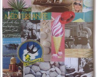 Brigitte Bardot & Saint Tropez coaster collage paintings