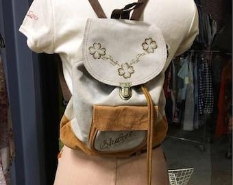 Sold in store. Do not buy. Vintage Nineties 1990s Suede Back Pack Embossed