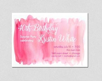 Watercolor Birthday Invitation, Pink Watercolor Party Invitation, Ladies Luncheon Invitation, 40th birthday invitation, 30th birthday