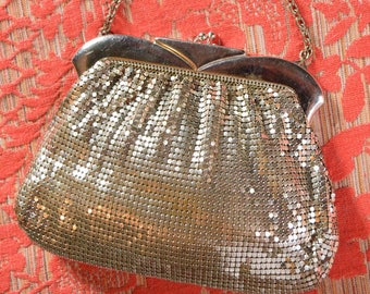 Vintage Whiting and Davis Silver Mesh Bag-Evening Clutch-Art Deco Style