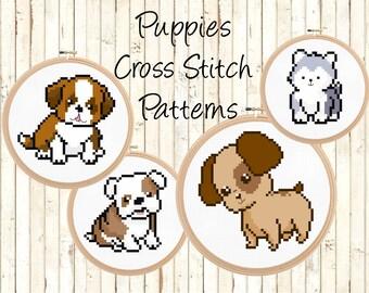 Cute Modern Cross Stitch Chart - Baby Dog Modern Cross Stitch Pattern Set - Puppy Cross-Stitch Patterns