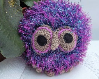 Sparkler the Owl. Pink Purple and Turquoise. Hand knitted soft toy, graduation or childrens gift, birds, stuffed animal.