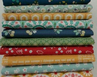 Happy Colorful Fun Fabric Bundle of 14 Fat Quarters