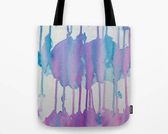 Watercolor Drip Tote Bag, Painted canvas bags , Blue Purple Tote Bag, Cloud Bag, canvas tote, illustrated tote, Rain Painting tote