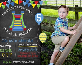 Fun BOY Bounce House Invitation with Photo! Let's Bounce! Digital File. Print at Home.