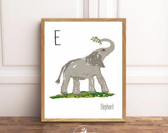 E is for Elephant, Instant Download, nursery art, Classroom Art, Kids room art, printable poster