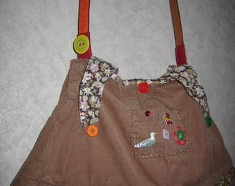 Kids recycled Tan corduroy bag, worked into a skirt, customized