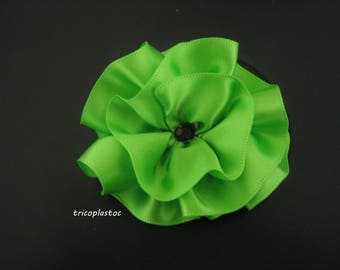 Flower brooch and hair clip hand made green satin, Black Pearl, wedding, party