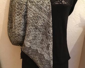 Scarf shawl stole triangle Black/Silver style oriental glamour