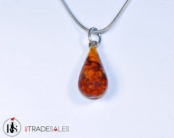 Baltic Amber teardrop pendant - golden brown - LO10